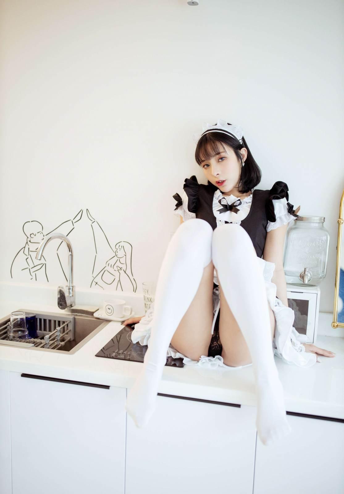 第187期秀色可餐陈小喵(女仆装,过膝白袜)_图片3