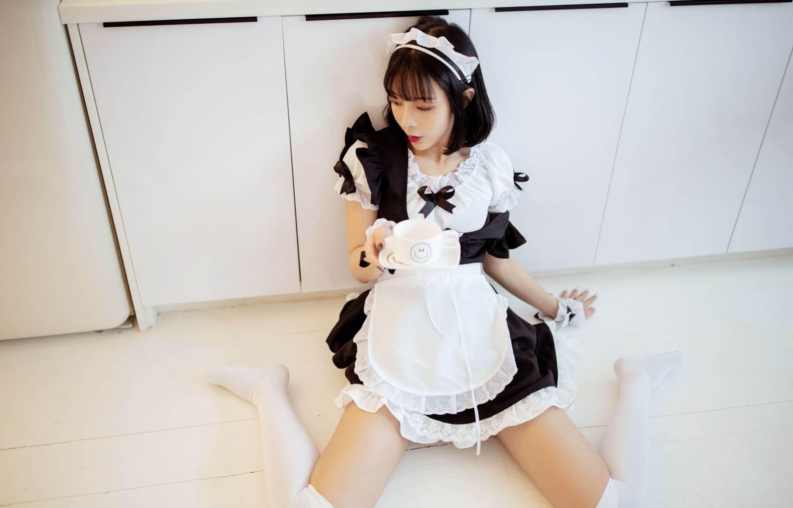 第187期秀色可餐陈小喵(女仆装,过膝白袜)_图片4