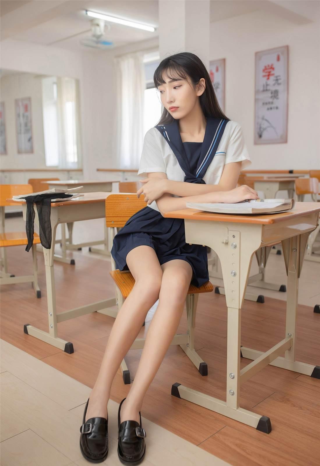 第229期青春学院风陆萱萱(jk裙,黑丝,丝袜,学院风)_图片4